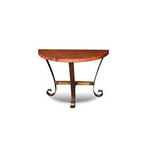 Hammered Copper Top with Metal Base Half Moon Console