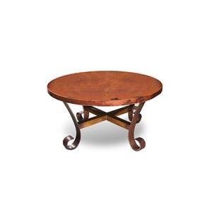 Hammered Copper Top with Metal Base Round Cocktail Table and Round End Table Set