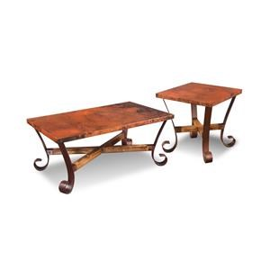 Hammered Copper Top with Metal Base Rectangular Cocktail Table and 2 Square End Tables Set