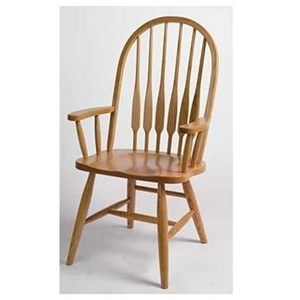 Solid Wood Eight Spindle High Back Arm Chair