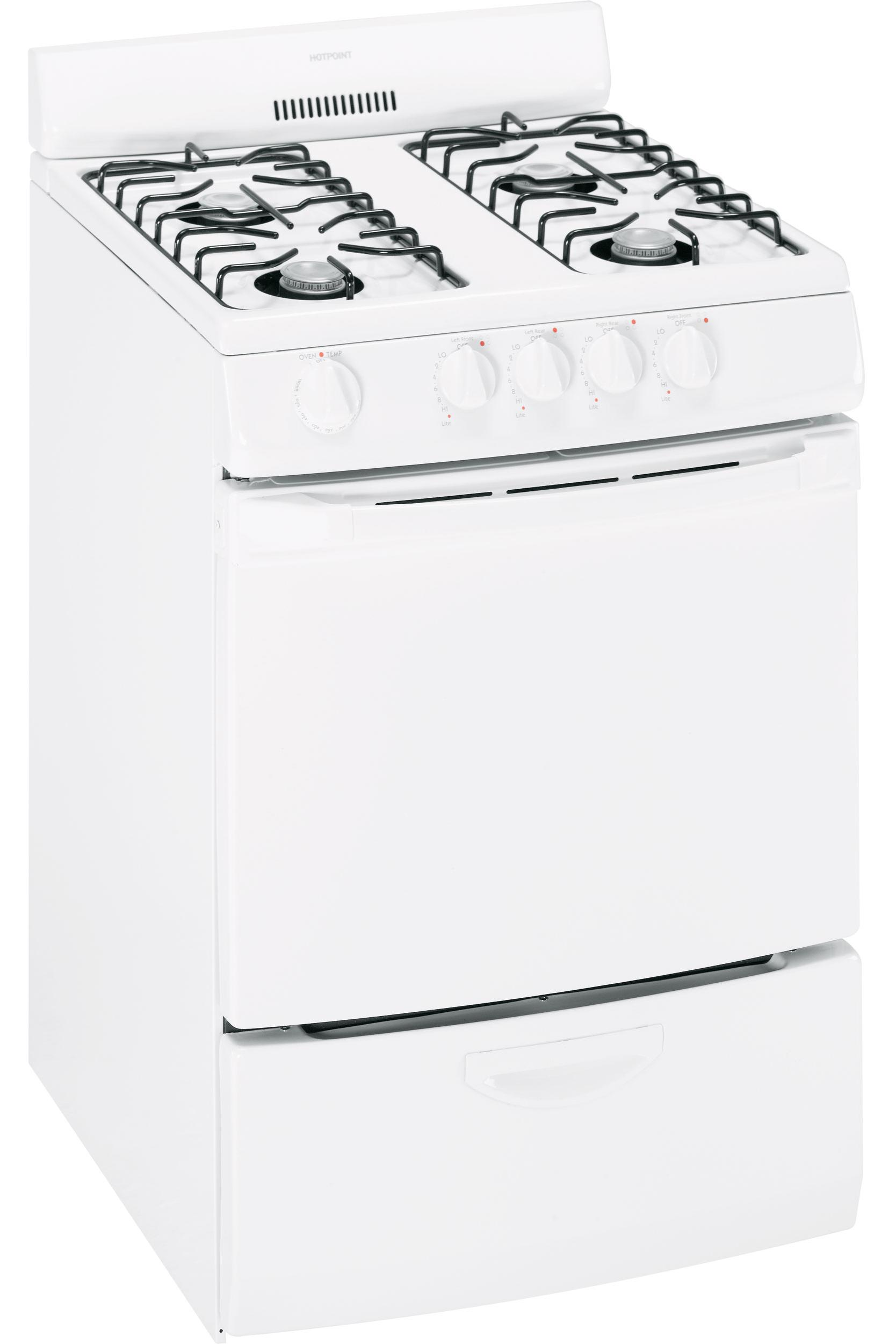 """Gas Range 24"""" Freestanding Gas Range by Hotpoint at VanDrie Home Furnishings"""