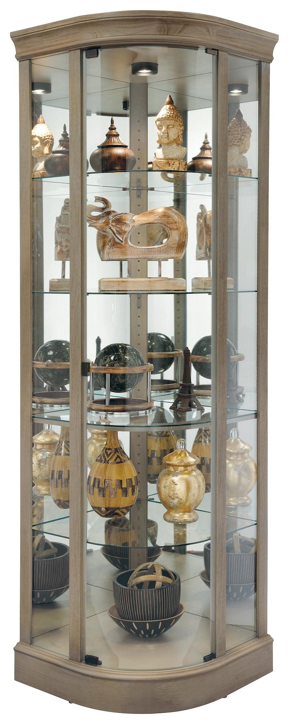 Marlowe V Corner Curio Cabinet by Howard Miller at HomeWorld Furniture
