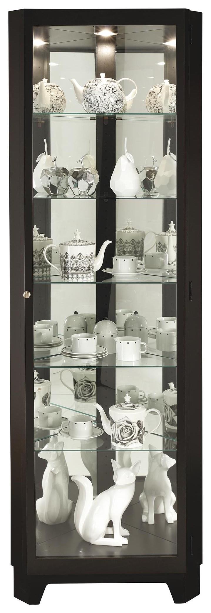 Melissa IV Corner Curio Cabinet by Howard Miller at HomeWorld Furniture