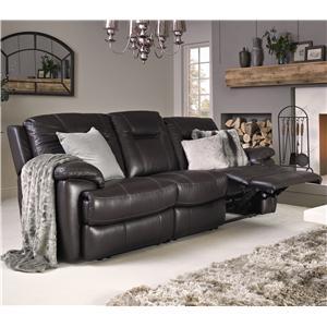 Contemporary Leather Match Power Sofa