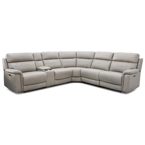 Contemporary Power Reclining Sectional w/ Power Headrests