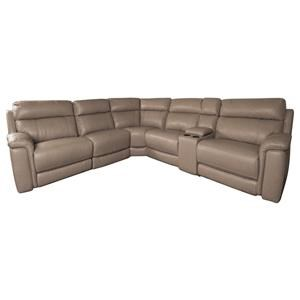 Modern Leather Match Power Sectional Sofa with Power Headrest