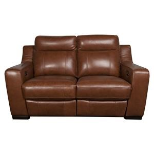 Modern Leather Match Power Reclining Loveseat
