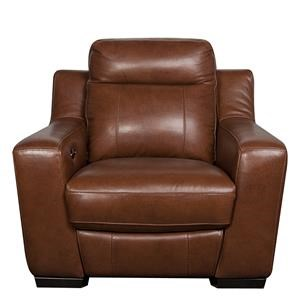 Contemporary Leather Match Power Recliner