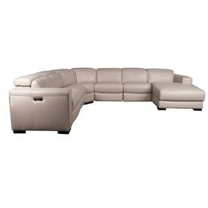 Leather Match Power Sectional with Power Headrest