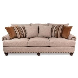 Transitional Sofa w/ Roll Arms