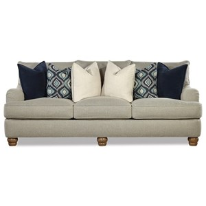 Customizable Sofa with English Arms and Turned Wood Legs