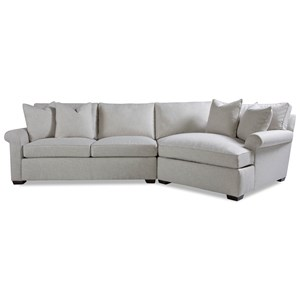Two Piece Sectional Sofa with RAF Chaise and Rolled Arms