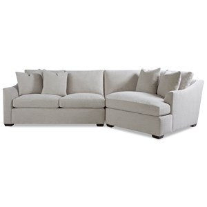 Two Piece Sectional Sofa with RAF Chaise and Flared Arms