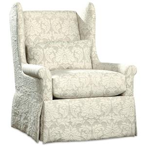 Swivel Glider Chair with Skirted Base and Wing Back