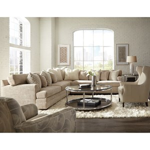 Contemporary L-Shape Sectional with Track Arms and Boxed Back Cushions