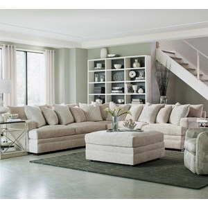 Contemporary L-Shape Sectional with Track Arms