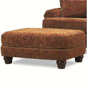 Resting Foot Ottoman on Four Exposed Wood Feet
