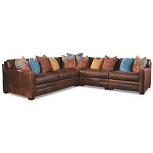 4 Seater Sectional with Track Arms and Block Feet