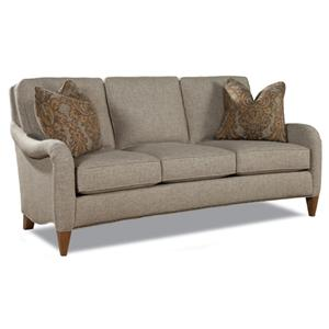 Transitional 3 Seat Sofa with English Arms and Tapered Feet
