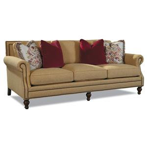 3 Leg Sofa with Rolled Arms and Nail Head Trim