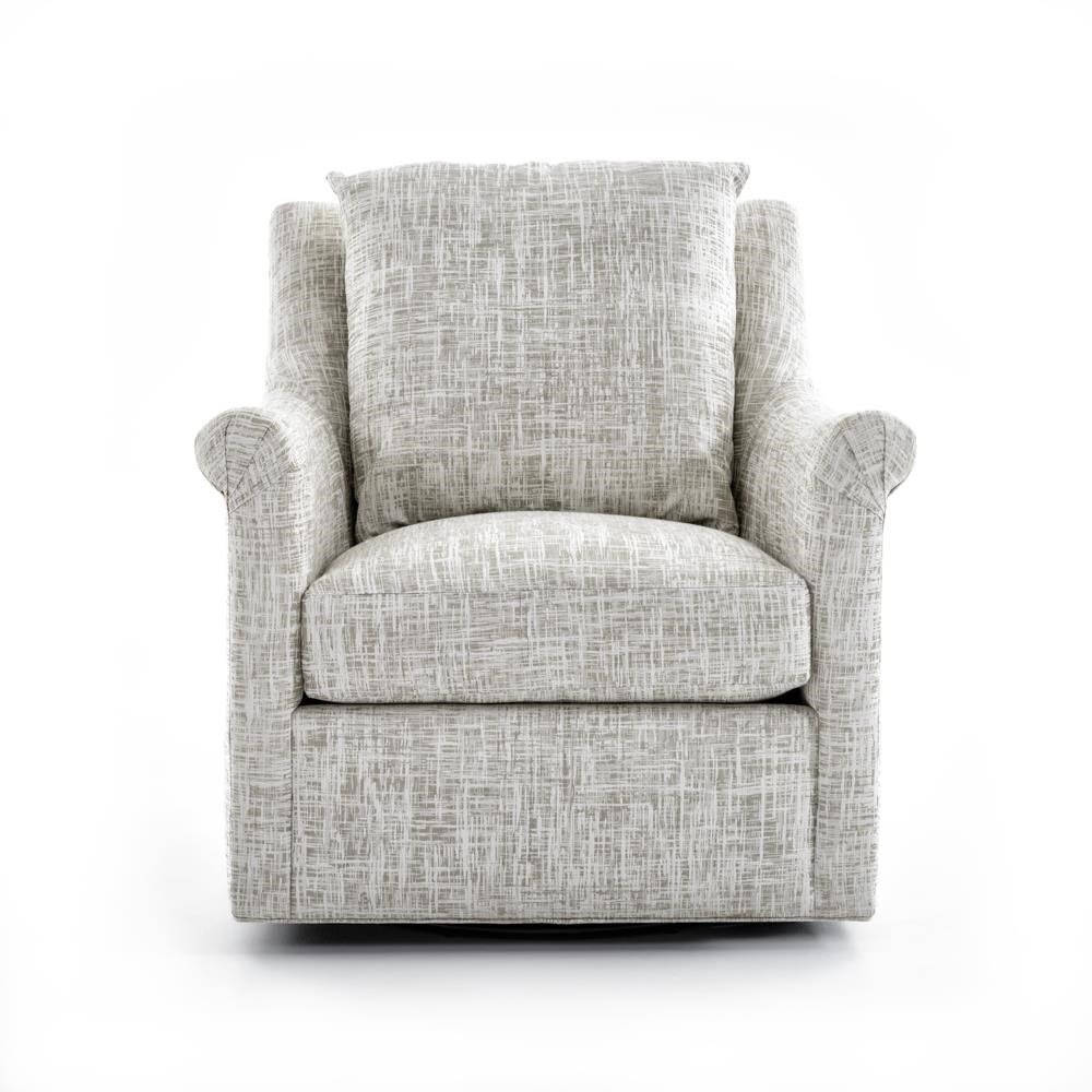 Upholstered Swivel Chair with Loose Back Pillow