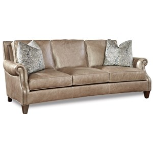 Transitional Sofa with Rolled Arms and Nailhead Trim