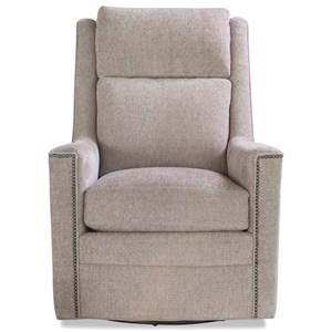 Casual Upholstered Swivel Chair with Nailhead Trim