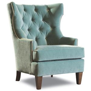 Transitional Upholstered Wing Chair with Tufted Back