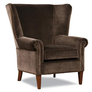 Transitional Chair with Flared Wing Back and Nailhead Trim