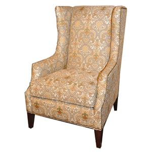Contemporary Wing Chair with High Tapered Wood Legs