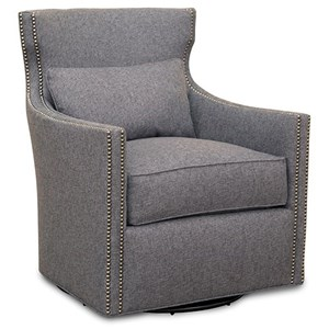 Contemporary Swivel Upholstered Chair with Nailhead Trim