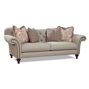 Classic Button Tufted Sofa with Rolled Arms