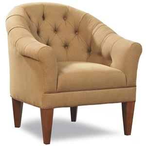 Upholstered Chair with Rounded, Tufted Back and Rolled Arms