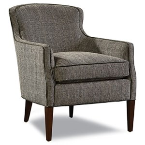 Upholstered Chair with Track Arms, Nail Head Trim, and Tapered Wood Legs