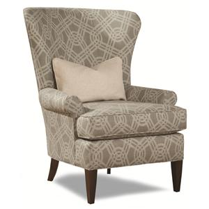 Traditional Accent Chair with Curved Wing Back