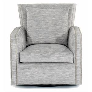 Contemporary Swivel Chair with Nailhead Trim