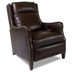 Traditional Power Reclining High Leg Recliner with Nailhead Accents