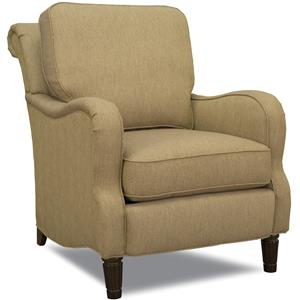 Traditional Stationary Accent Chair with Rolled Back