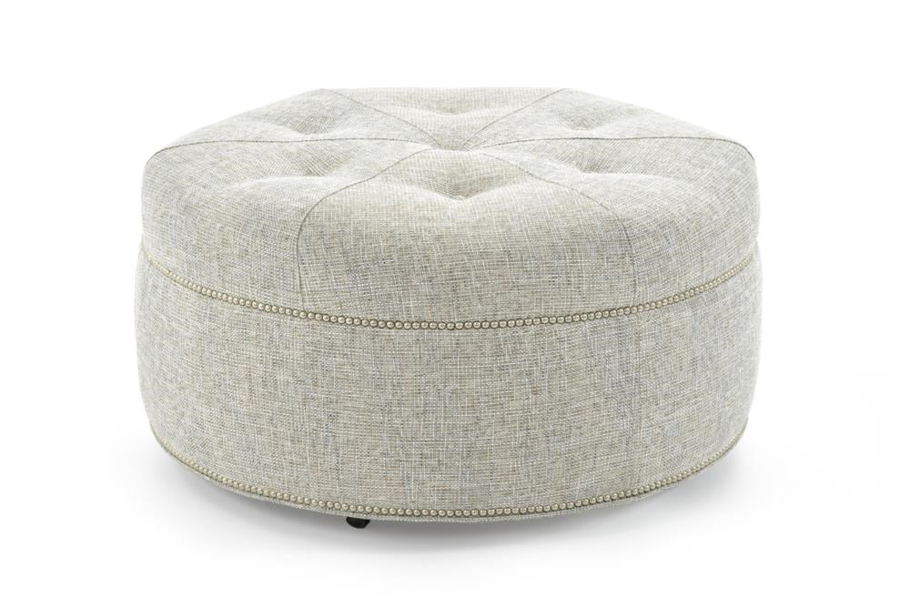 Customizable Round Cocktail Ottoman with Button Tufted Mitered Top and Nailheads