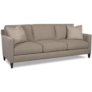 3-Cushion Sofa with Track Arms and Exposed Wooden Legs