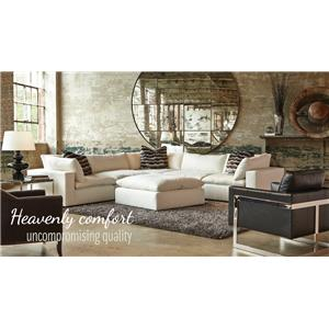 Sectional Sofa Group with Track Arms and Tight Seat Cushion