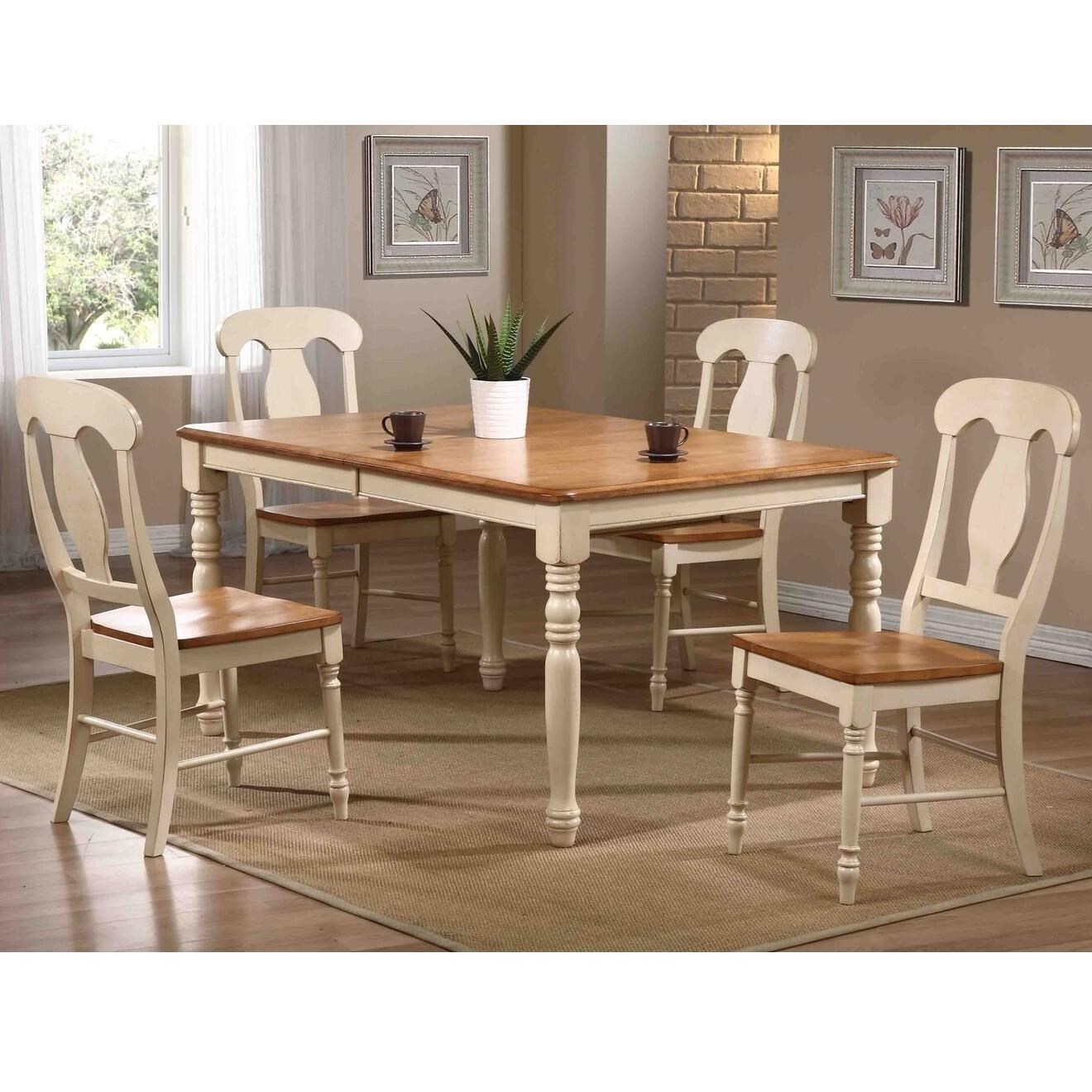 Caramel Biscotti 5 Piece Dining Set with Splat Back Chairs by Iconic Furniture Co. at Dinette Depot