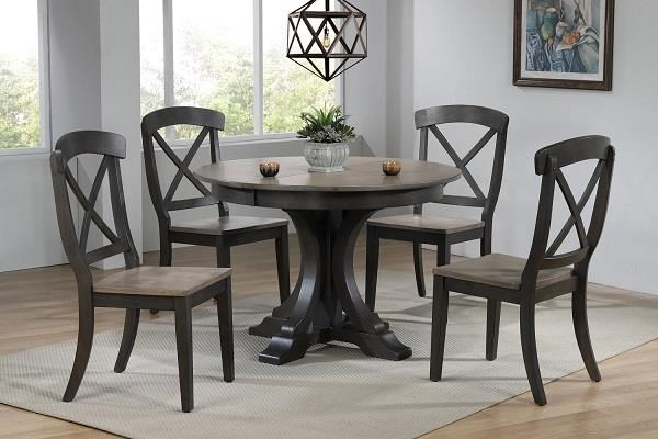 Grey stone Black stone Round table with 4 chairs by Iconic Furniture Co. at Dinette Depot