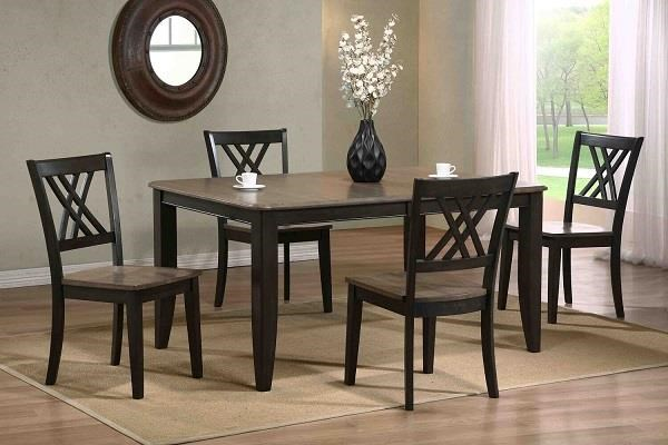 Grey stone Black stone 5 piece rectangular set by Iconic Furniture Co. at Dinette Depot