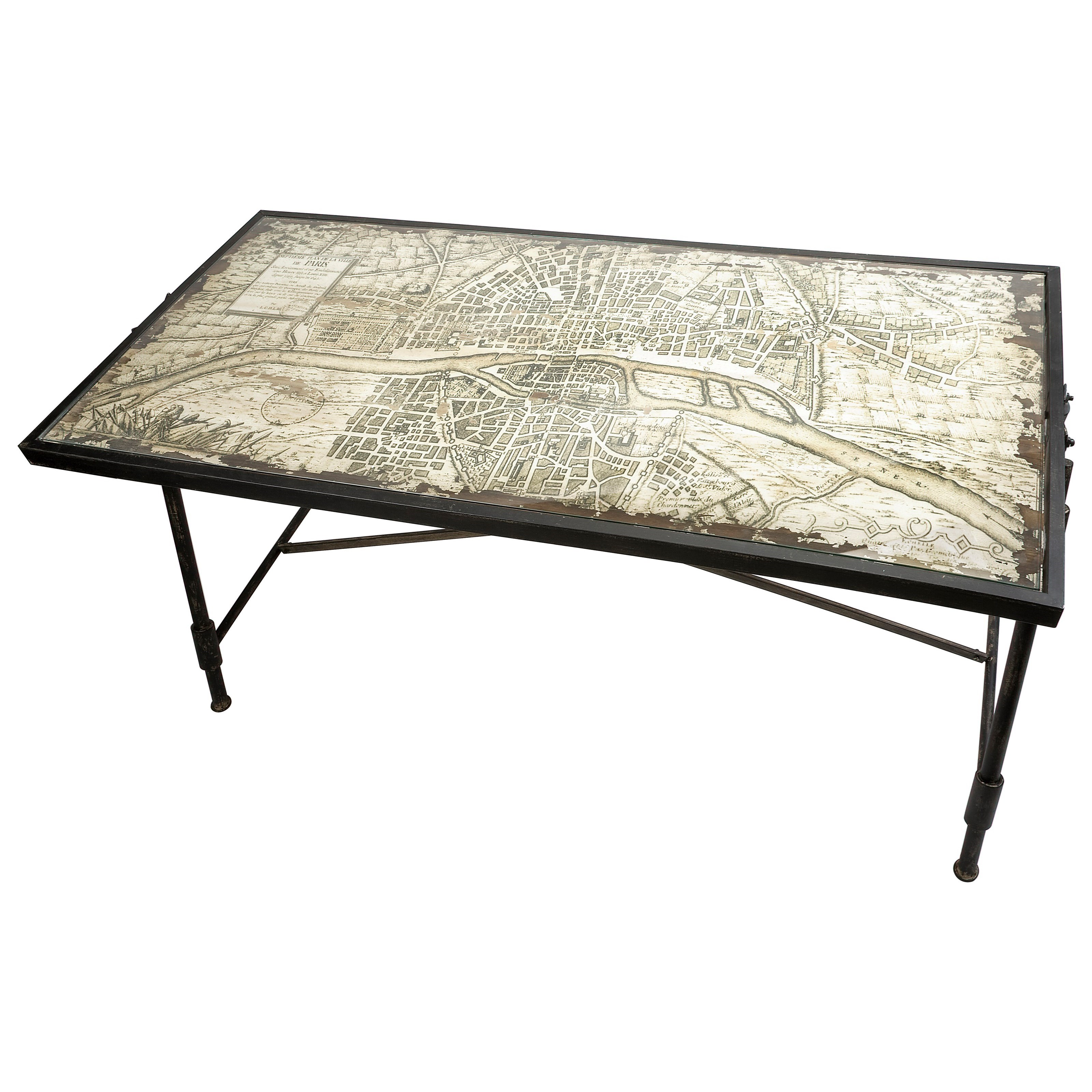 Accent Furniture Bedeau Paris Glass Top Writing Desk by IMAX Worldwide Home at Alison Craig Home Furnishings
