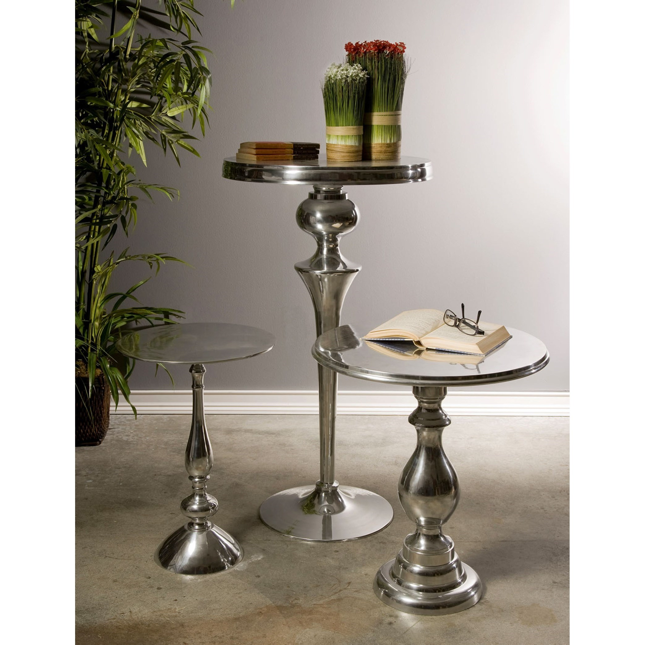Accent Tables and Cabinets Chesire Aluminum Side Table by IMAX Worldwide Home at Alison Craig Home Furnishings