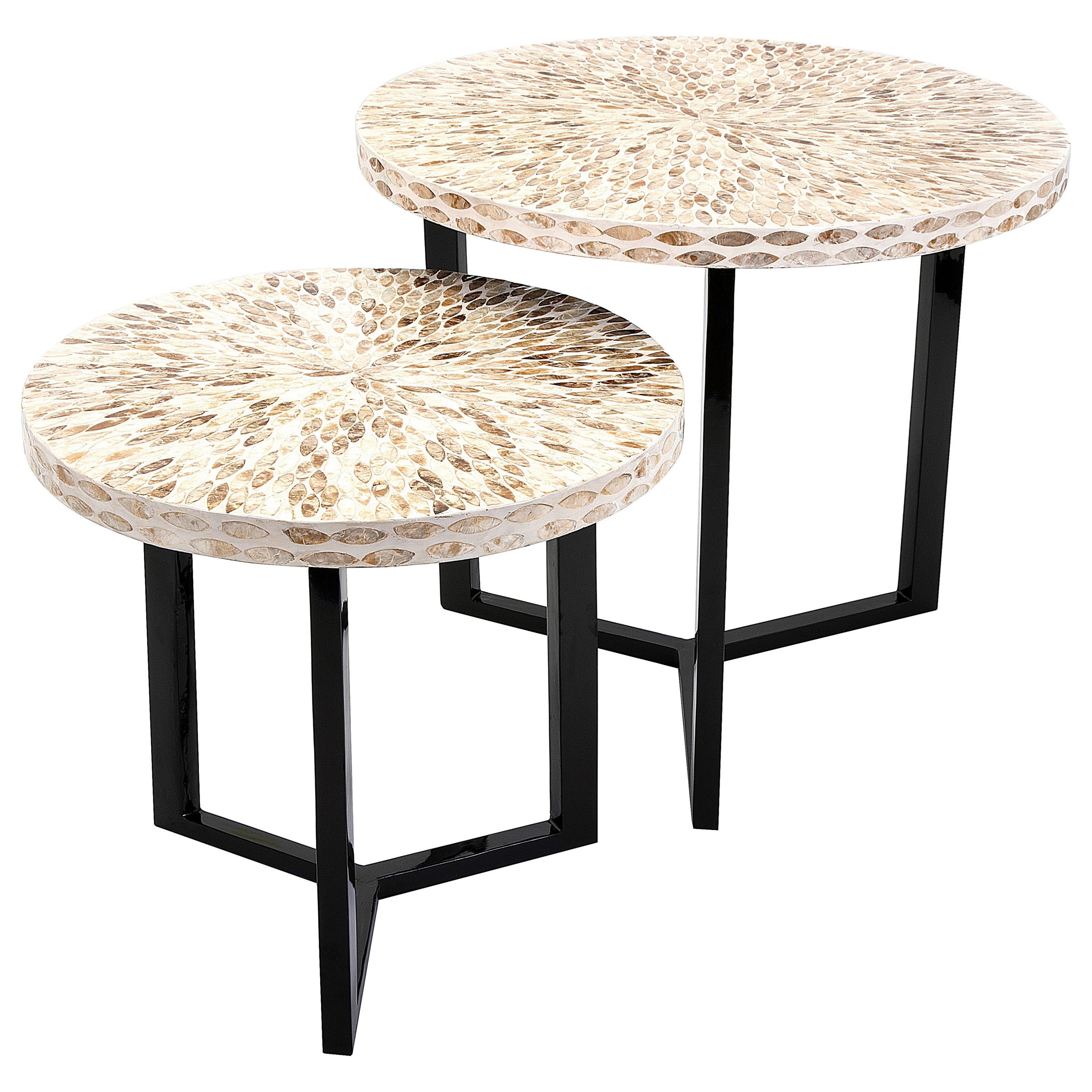 Accent Tables and Cabinets Pavati Shell Tables - Set of 2 by IMAX Worldwide Home at Alison Craig Home Furnishings