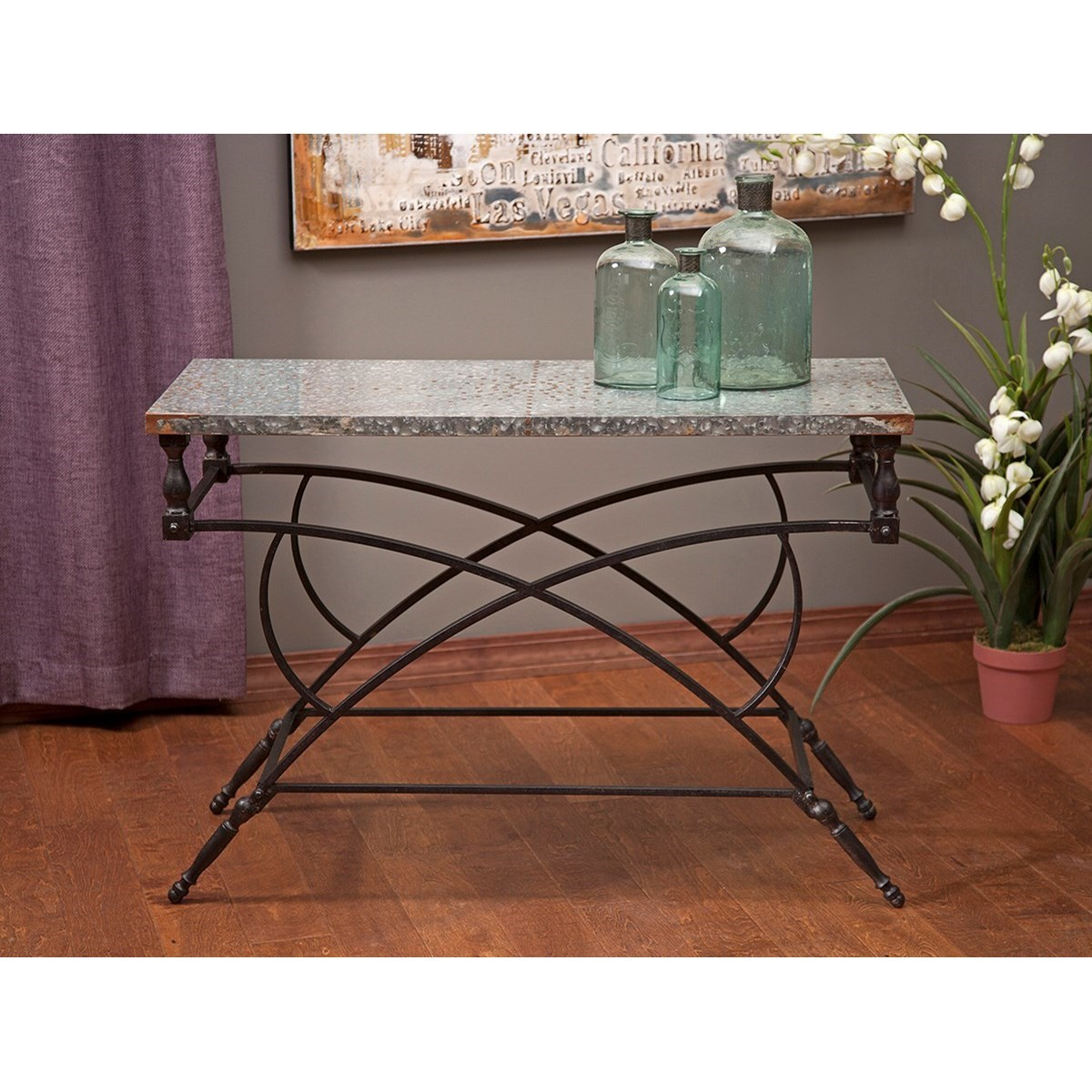 Accent Tables and Cabinets Gilbert Galvanized Console by IMAX Worldwide Home at Alison Craig Home Furnishings