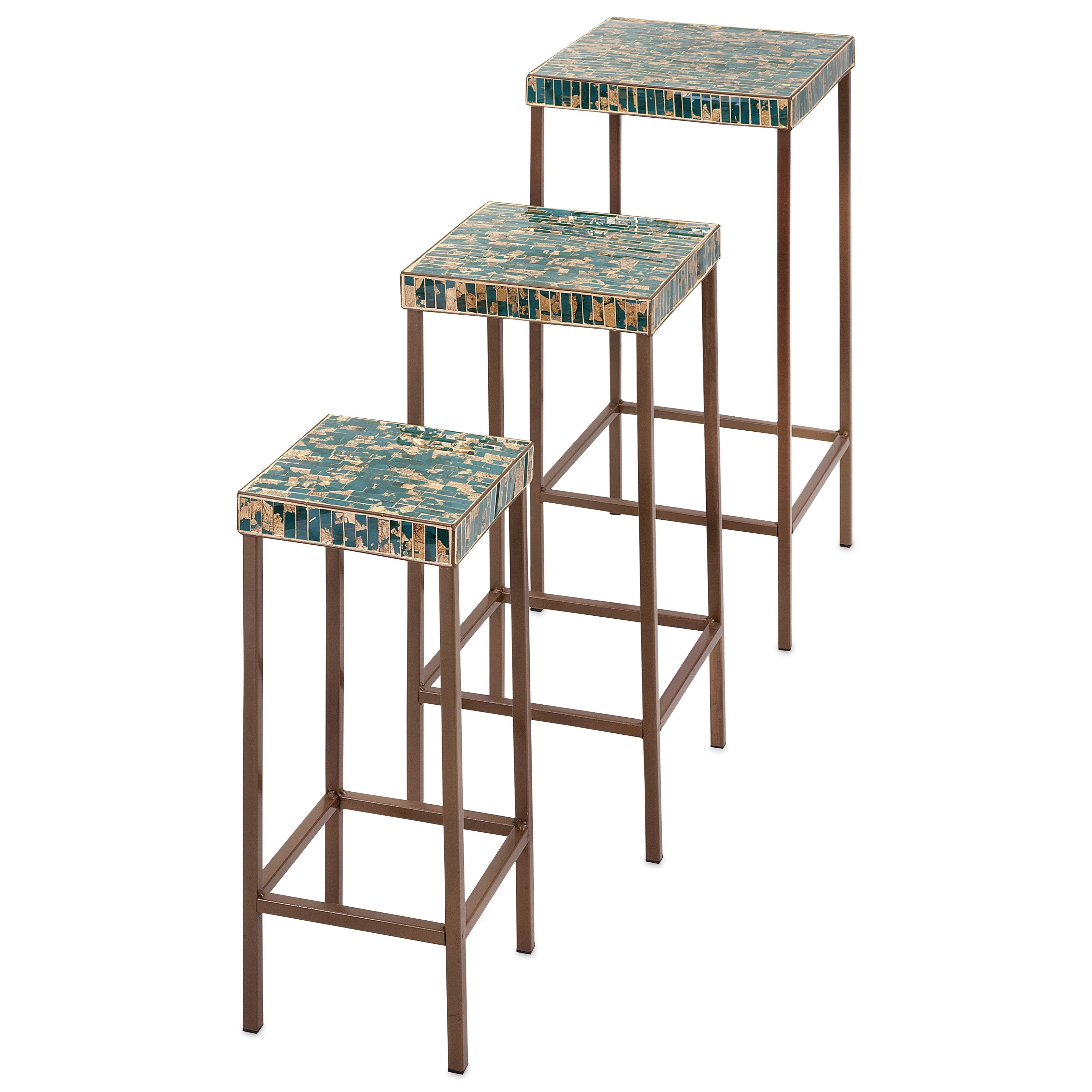 Accent Tables and Cabinets Glacier Mosaic Tables - Set of 3 by IMAX Worldwide Home at Alison Craig Home Furnishings