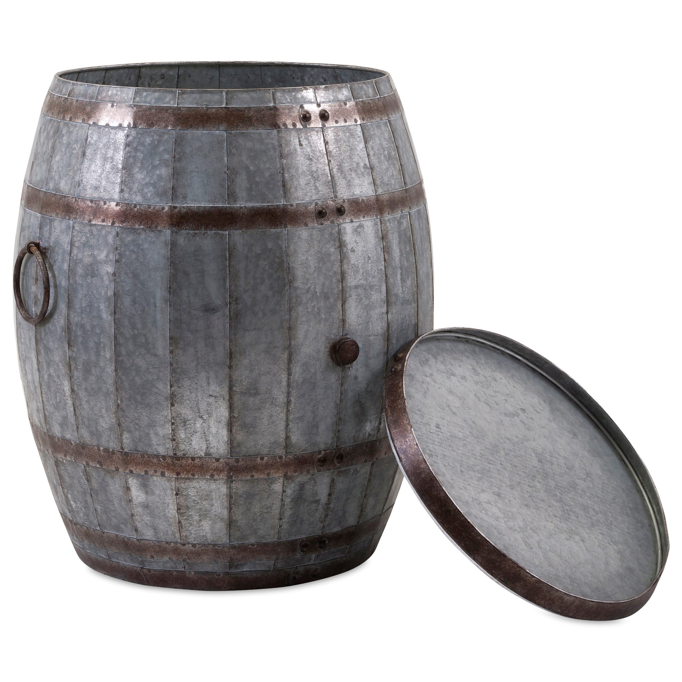 Accent Tables and Cabinets Vineyard Wine Barrel Storage Table by IMAX Worldwide Home at Alison Craig Home Furnishings